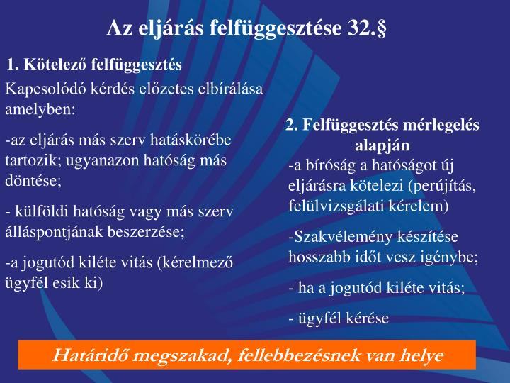 Az eljárás felfüggesztése 32.§