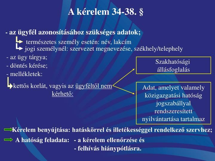 A kérelem 34-38. §
