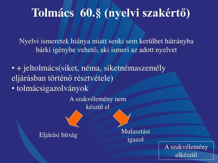 Tolmcs  60. (nyelvi szakrt)