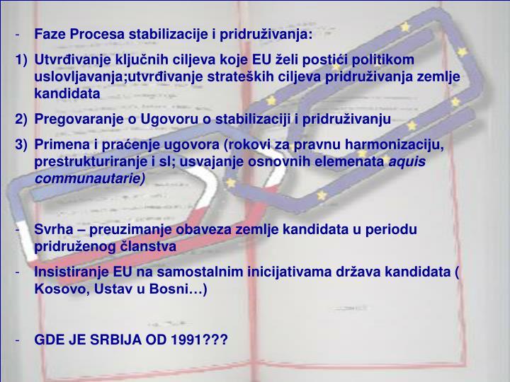 Faze Procesa stabilizacije