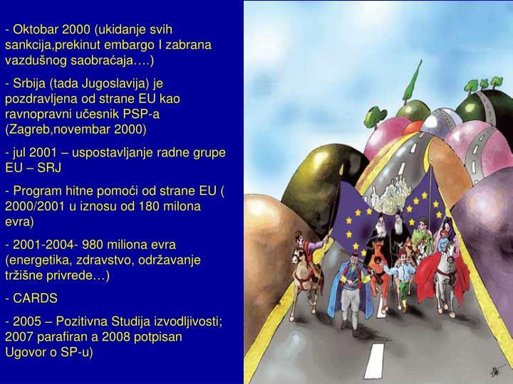 Oktobar 2000 (ukidanje svih sankcija,prekinut embargo I zabrana vazdu