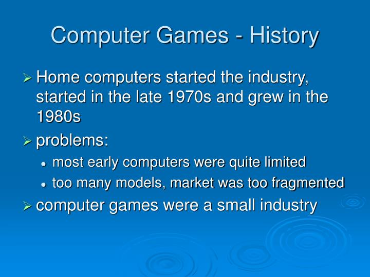 Computer Games - History
