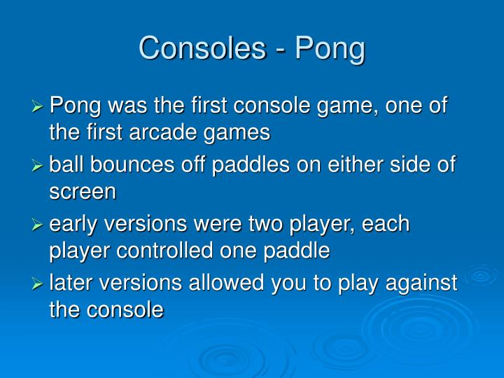 Consoles - Pong
