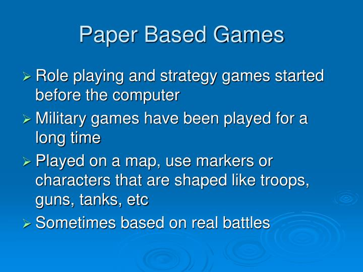 Paper Based Games