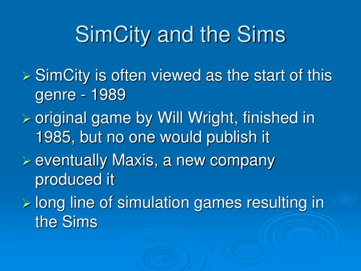 SimCity and the Sims