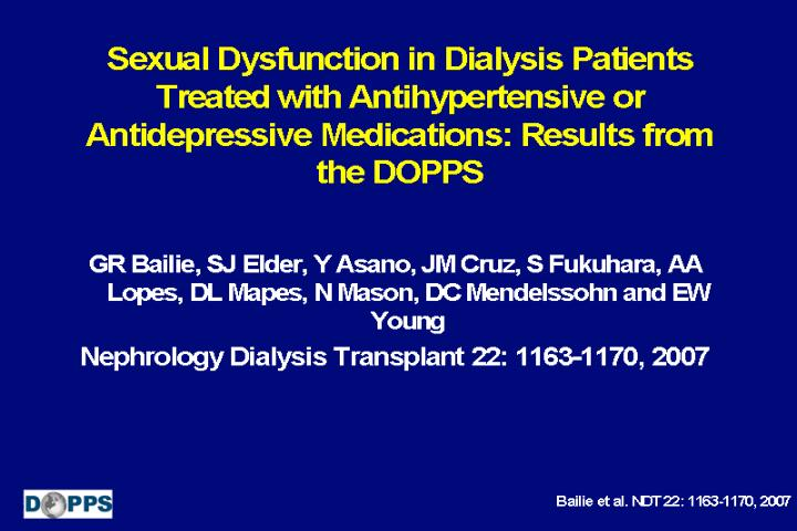 Sexual Dysfunction in Dialysis Patients Treated with Antihypertensive or Antidepressive Medications:...