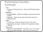 performance counters continued