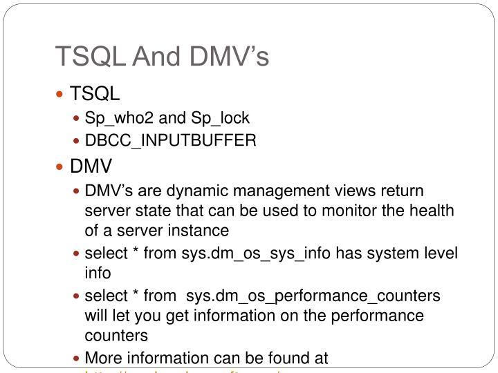 TSQL And DMV's
