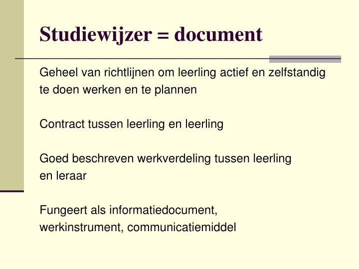 Studiewijzer = document