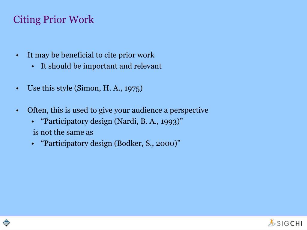 Citing Prior Work