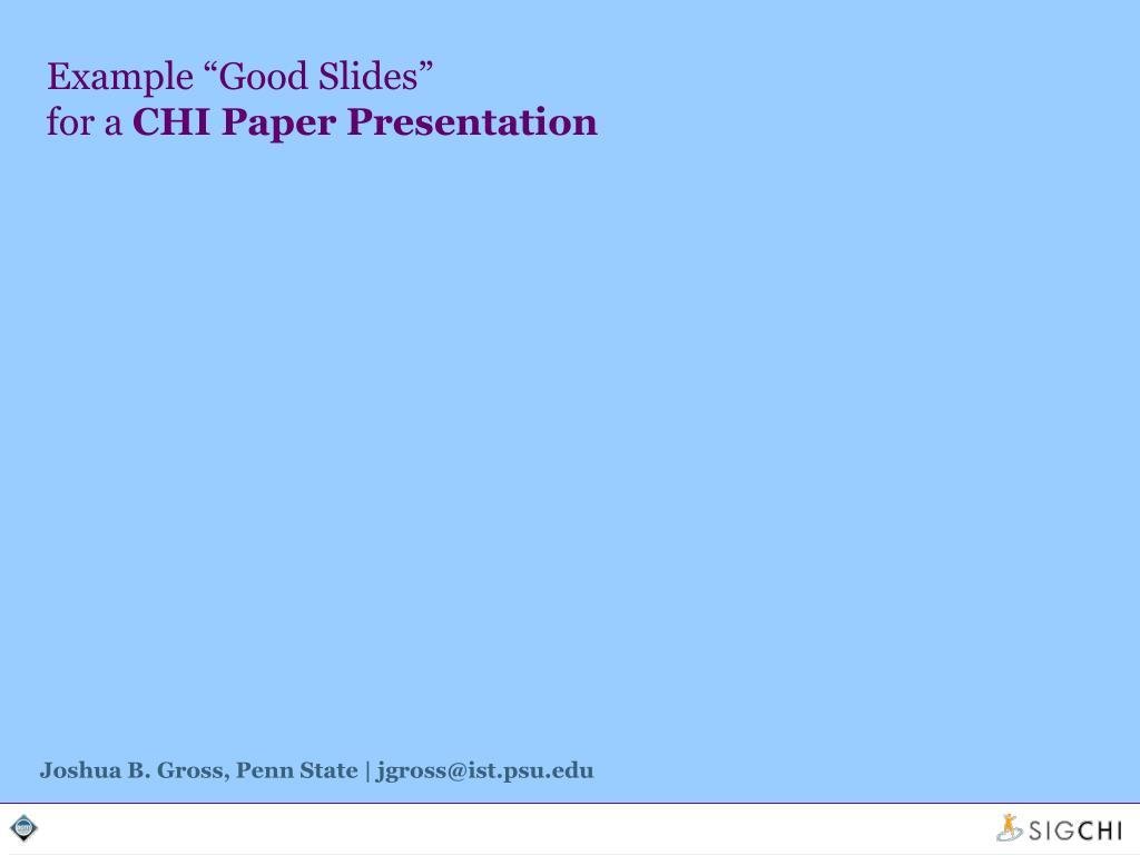 "Example ""Good Slides"""