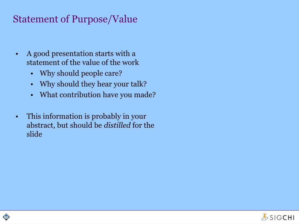 Statement of Purpose/Value