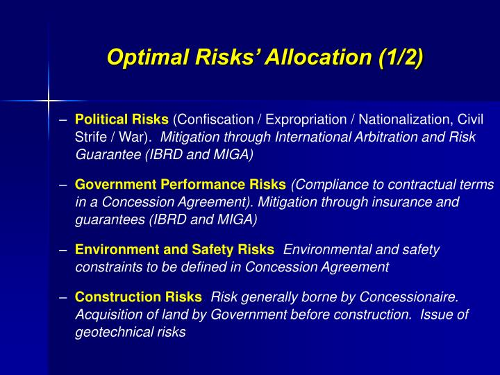 Optimal Risks' Allocation (1/2)