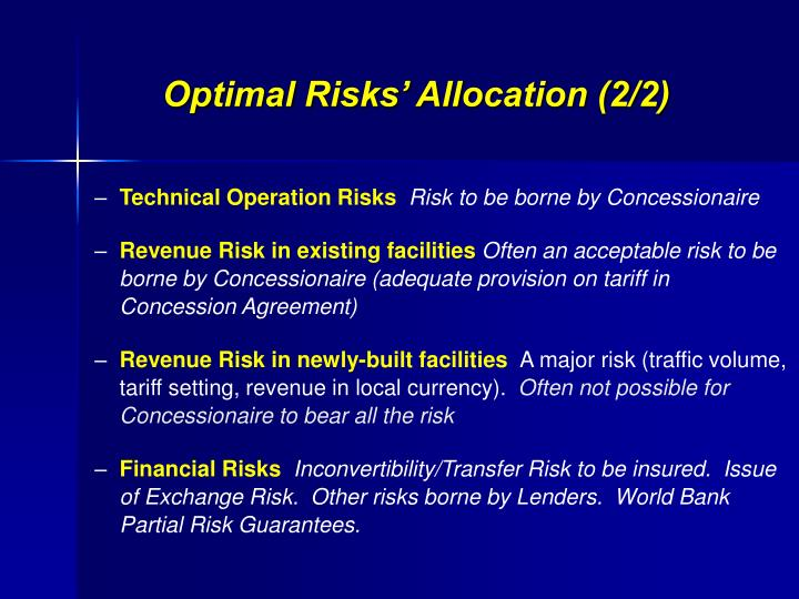 Optimal Risks' Allocation (2/2)