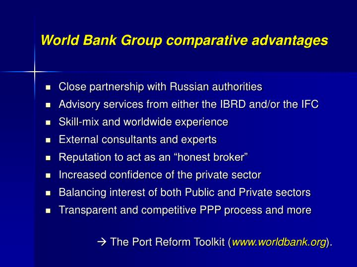 World Bank Group comparative advantages