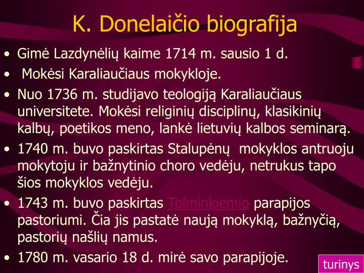 K. Donelaičio biografija