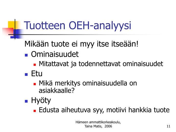 Tuotteen OEH-analyysi