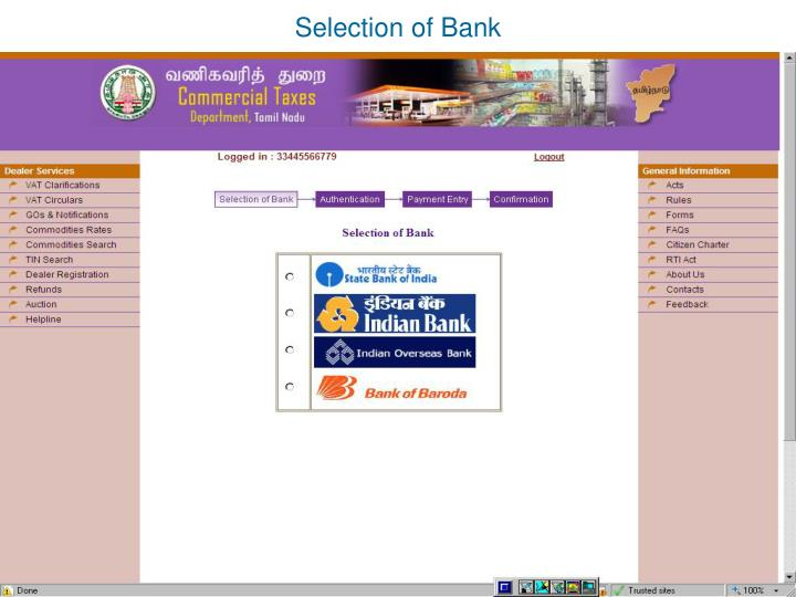 Selection of Bank