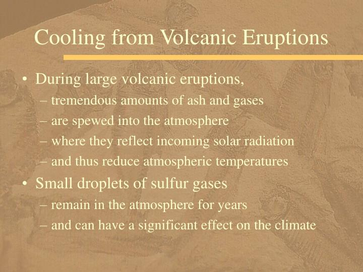 Cooling from Volcanic Eruptions
