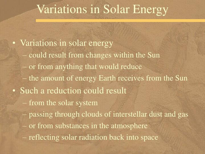 Variations in Solar Energy