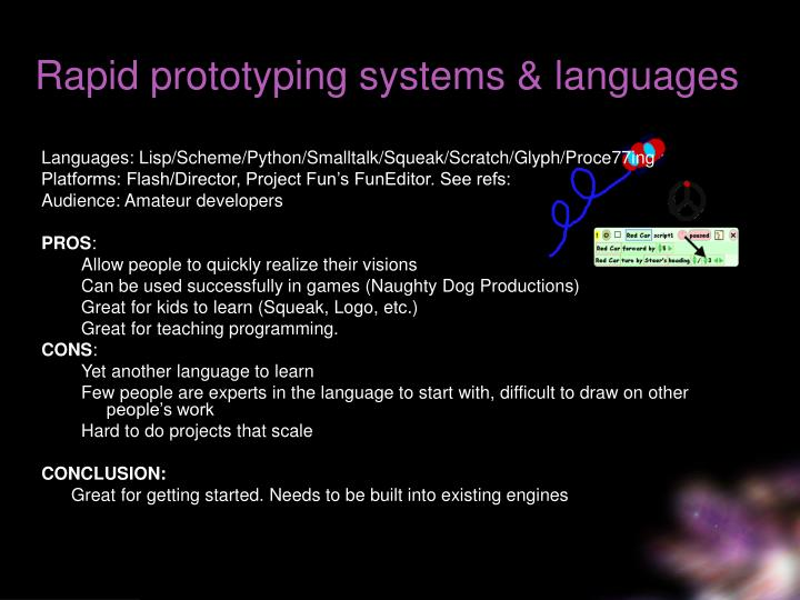 Rapid prototyping systems & languages