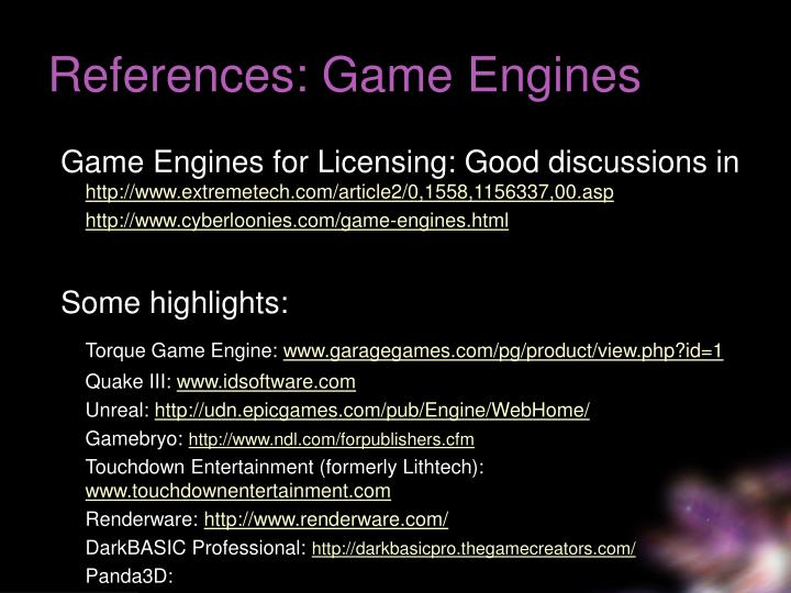 References: Game Engines