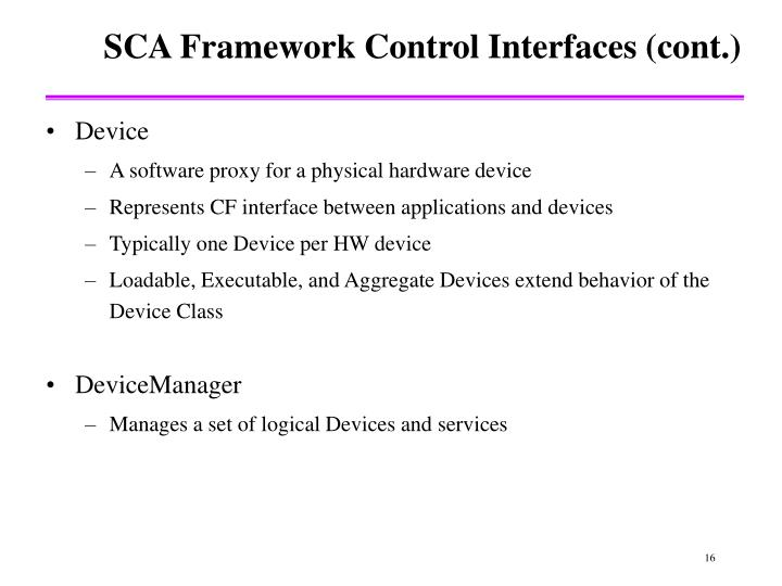 SCA Framework Control Interfaces (cont.)