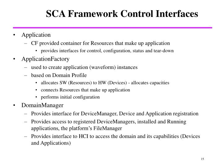 SCA Framework Control Interfaces