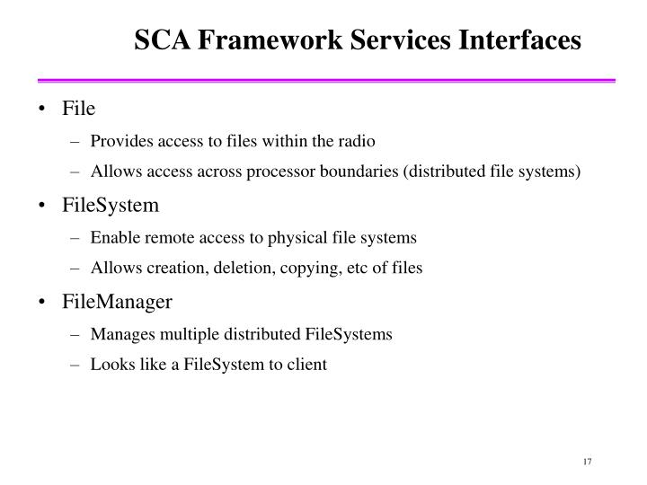 SCA Framework Services Interfaces