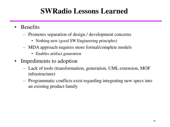 SWRadio Lessons Learned