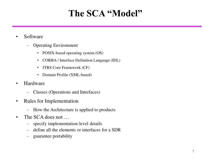 "The SCA ""Model"""