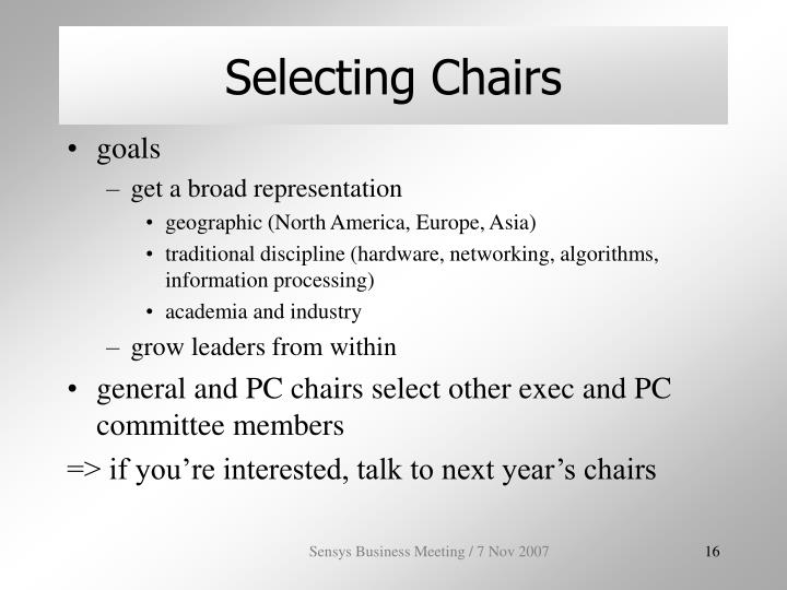 Selecting Chairs