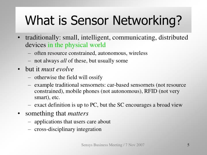 What is Sensor Networking?