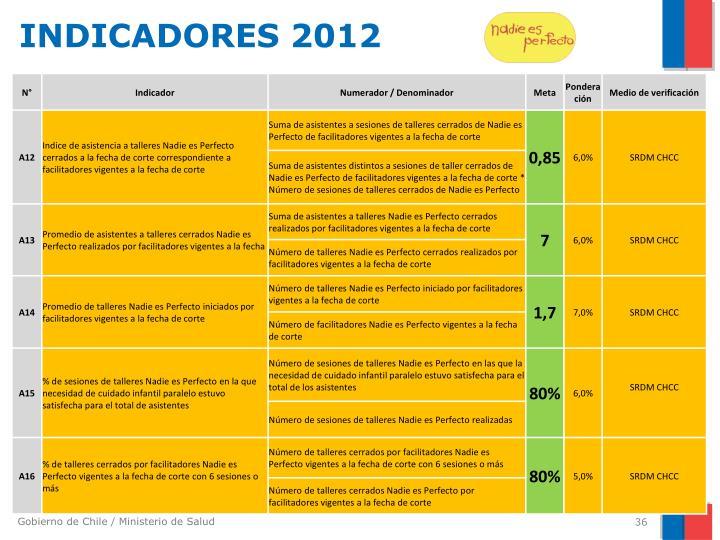 INDICADORES 2012