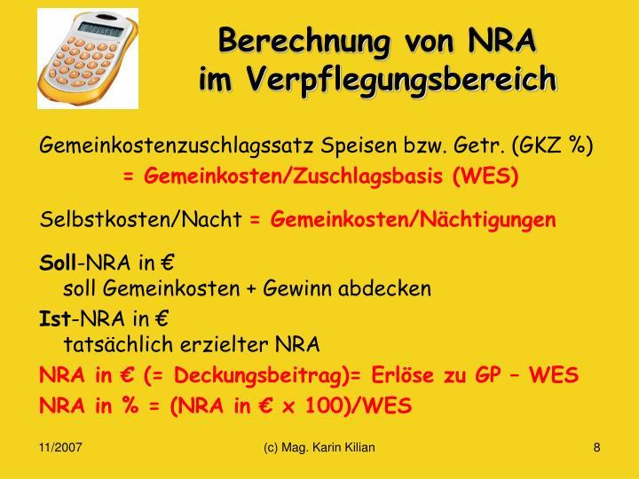 Berechnung von NRA