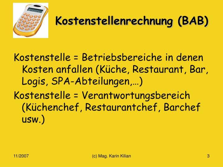 Kostenstellenrechnung (BAB)