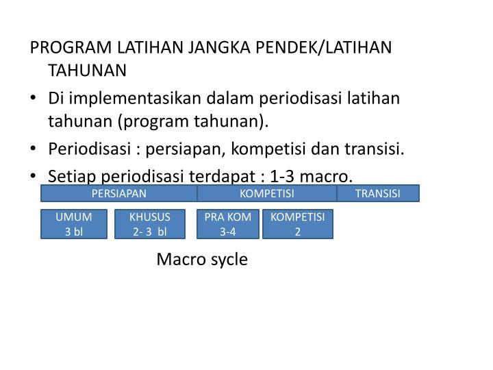 PROGRAM LATIHAN JANGKA PENDEK/LATIHAN TAHUNAN