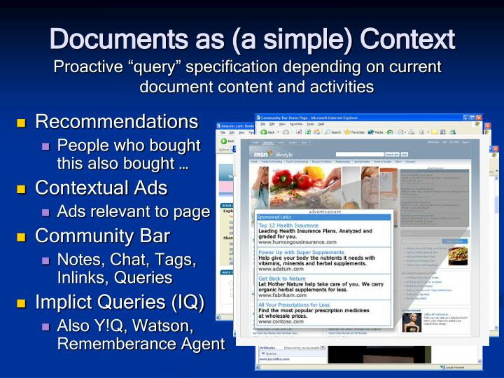 Documents as (a simple) Context