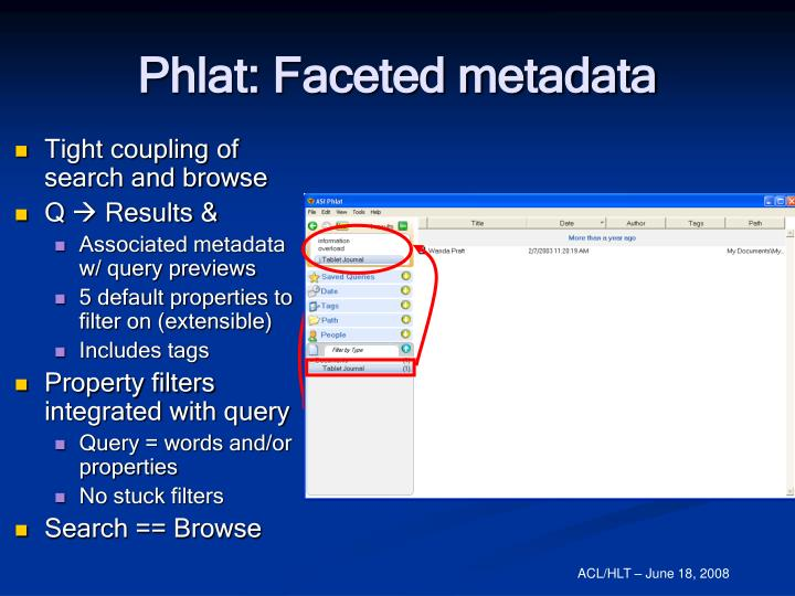 Phlat: Faceted metadata
