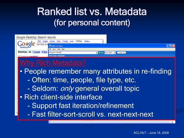 Ranked list vs. Metadata