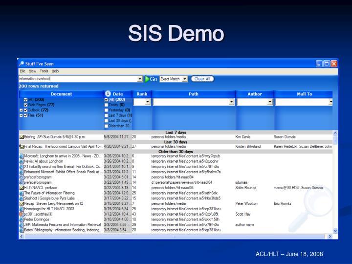 SIS Demo