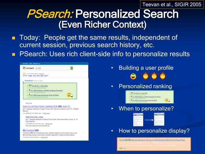 Building a user profile