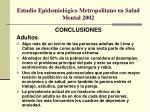 estudio epidemiol gico metropolitano en salud mental 20021