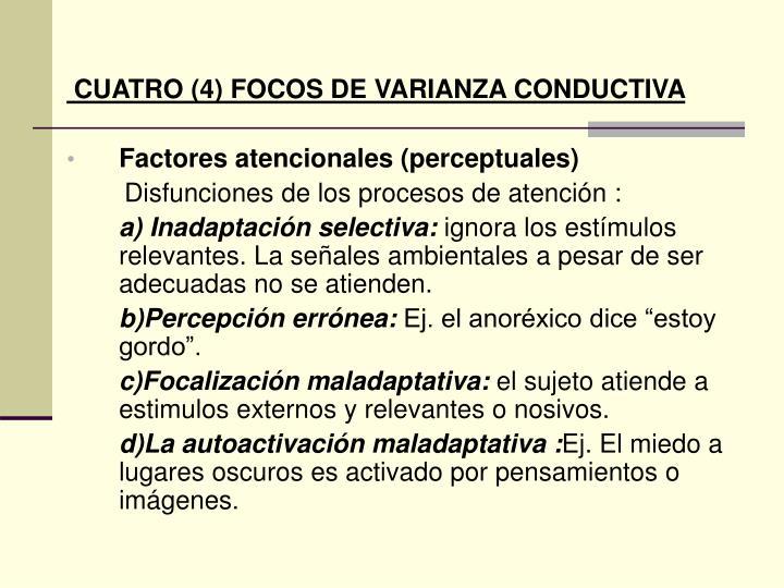 CUATRO (4) FOCOS DE VARIANZA CONDUCTIVA