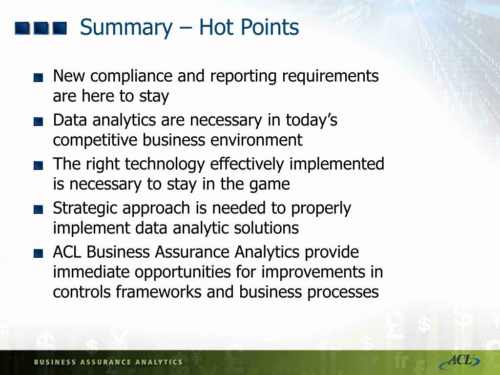 Summary – Hot Points