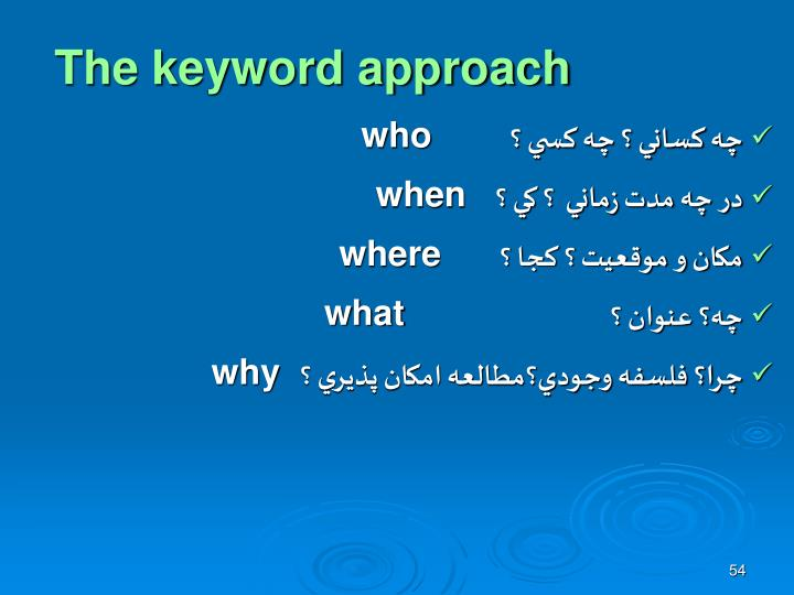 The keyword approach