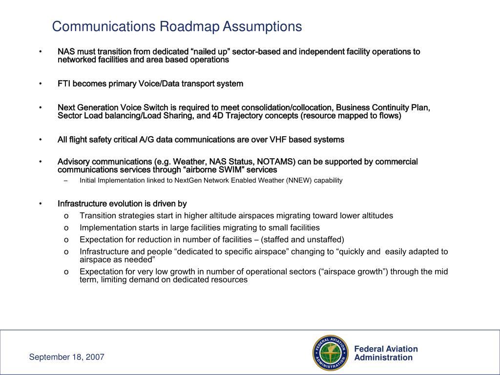Communications Roadmap Assumptions
