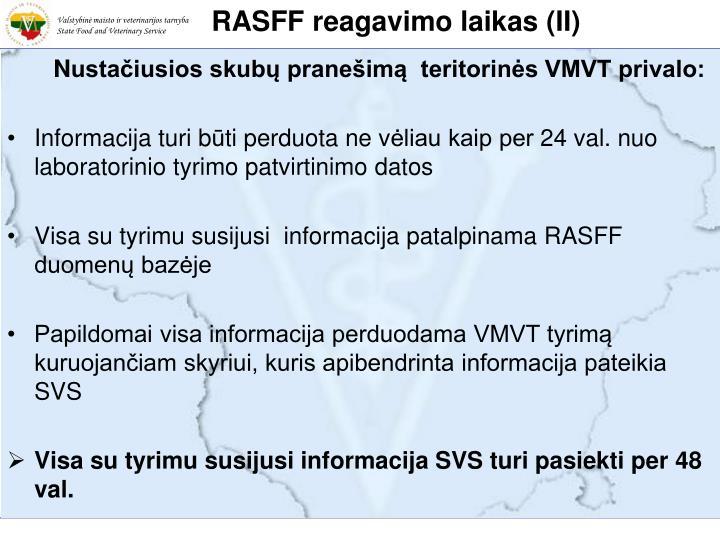RASFF reagavimo laikas