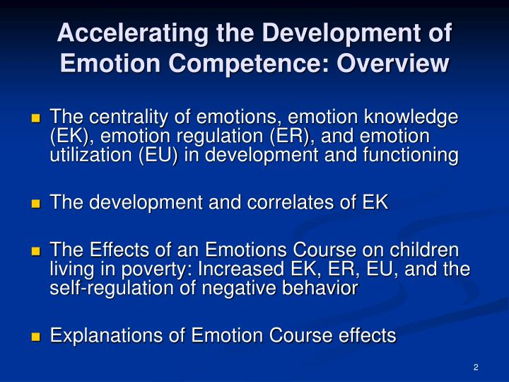 Accelerating the Development of Emotion Competence: Overview