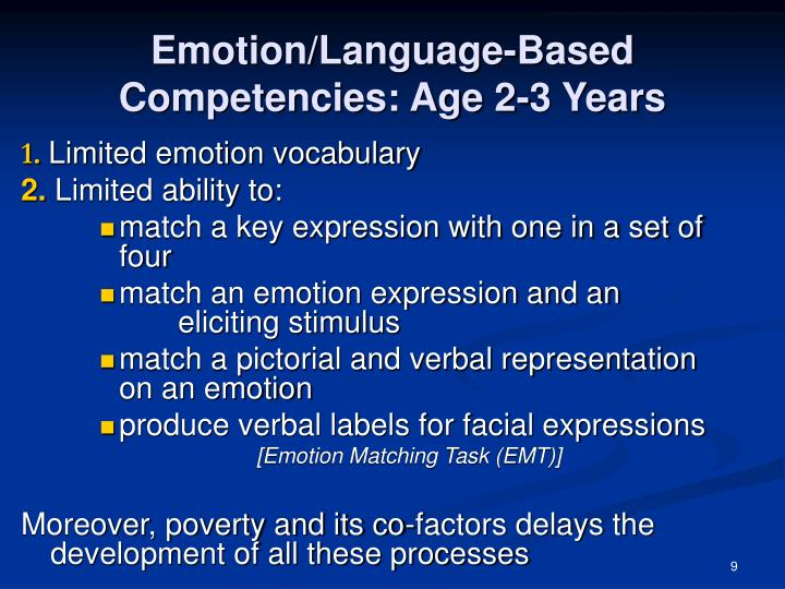 Emotion/Language-Based Competencies: Age 2-3 Years
